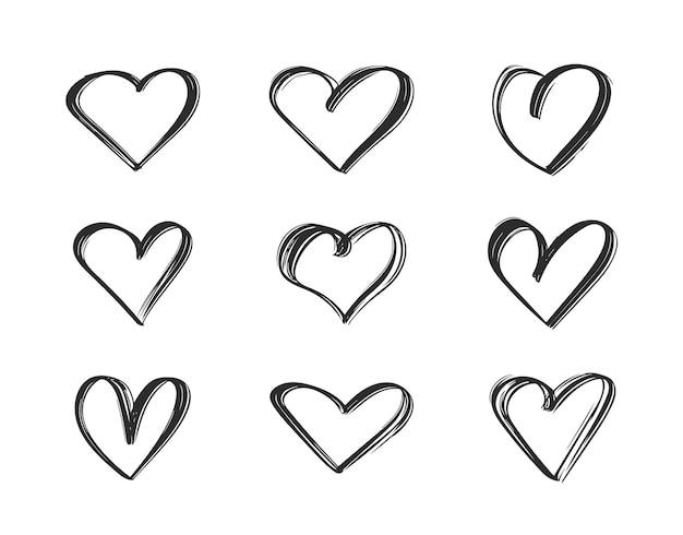 Contour noir ensemble de coeurs dessinés à la main.