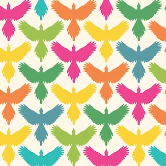 Contour d'oiseau de modèle sans couture avec la vue de face d'ailes déployées fond de concept de liberté