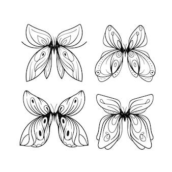 Contour de papillon avec collection de détails dessinés