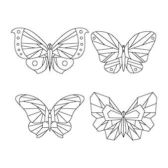 Contour de papillon avec collection de détails plats linéaires