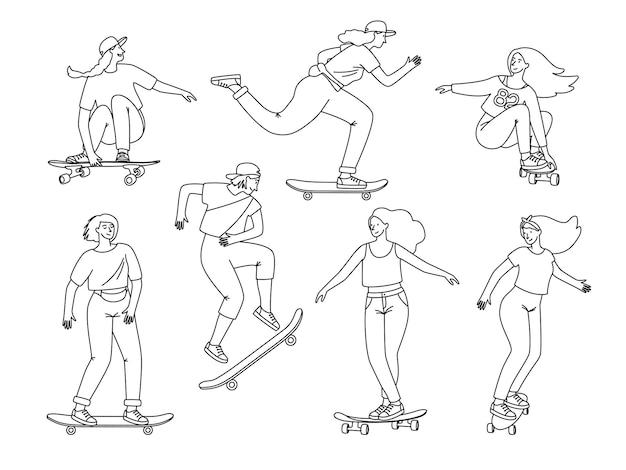 Contour des planchistes. les adolescentes de dessin animé sur des éléments de croquis de planches, de sauts et d'astuces sportives sur longboard, illustration vectorielle d'activité extrême isolée sur zone blanche