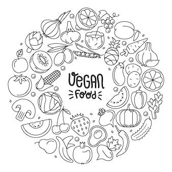 Contour rond composé de légumes