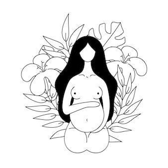 Contour de vecteur belle femme enceinte nue sur fond de fleurs naissance maternité