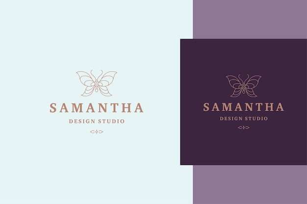 Contour vectoriel de l'étiquette papillon pour les services de cosmétologie de la beauté et le style de ligne de produits
