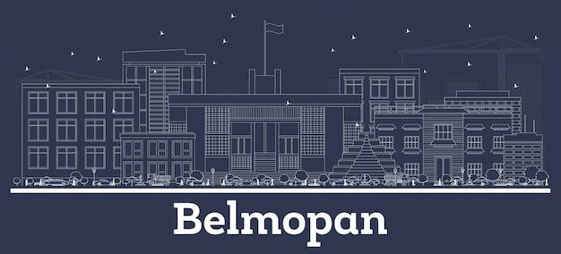 Contours belmopan belize city skyline avec des bâtiments blancs