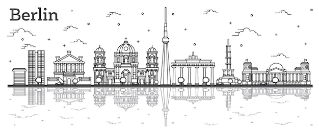 Contours berlin allemagne city skyline avec bâtiments historiques et réflexions isolated on white