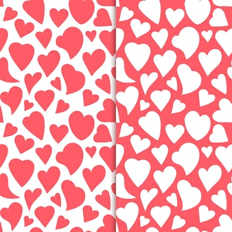 Contours de coeurs dessinés à la main ensemble de modèle sans couture romantique