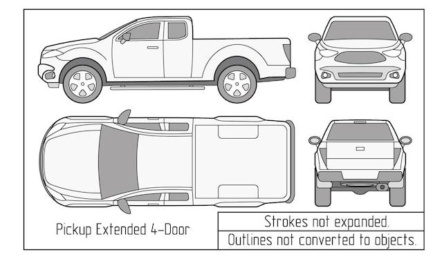 Contours de dessin de berline de voiture et de suv non convertis en objets