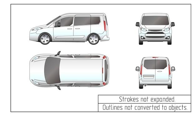Contours de dessin de fourgon de voiture non convertis en objets