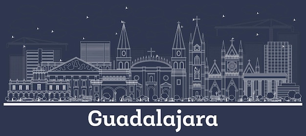 Contours guadalajara mexico city skyline avec bâtiments blancs