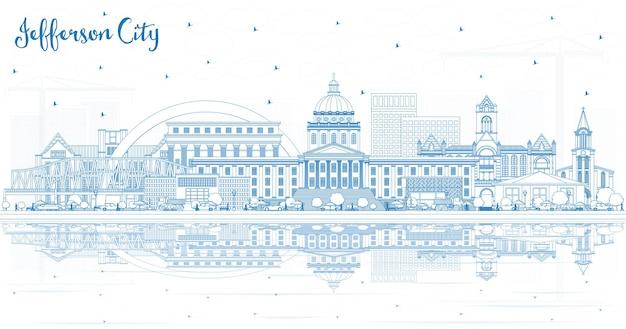 Contours jefferson city missouri skyline avec bâtiments bleus et réflexions vector illustration