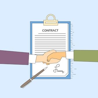 Contrat homme d'affaires poignée de main