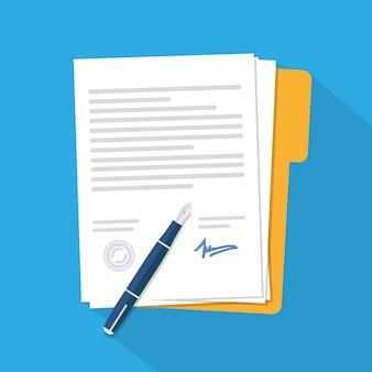 Contrat D'icône De Contrat Vecteur Premium