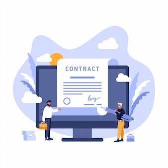 Contrat inscrivez-vous document papier accord homme d'affaires signature numérique tablette ordinateur smart téléphone portable bannière web illustration plate