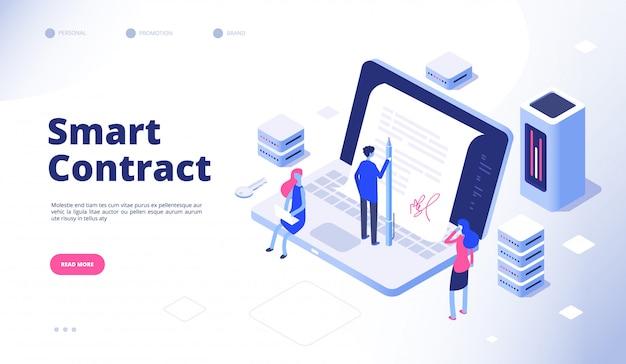 Contrat intelligent. document numérique signature électronique contrat intelligent protocole facilitateur cryptographie accord concept