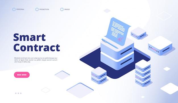 Contrat intelligent. document de signature numérique smart contracts finance data cryptography contractor agreement landing page