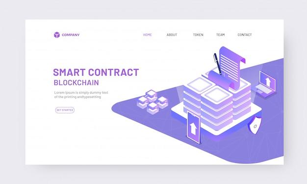 Contrat en ligne isométrique du concept d'application
