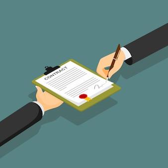 Contrat papier signé contrat icône icône.