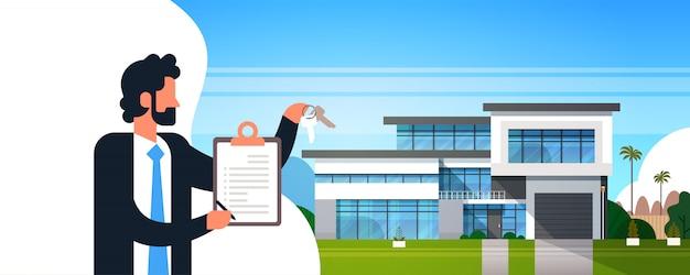 Contrat de presse-papiers homme d'affaires