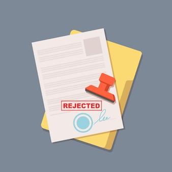 Contrat rejeté. document de bureau. illustration vectorielle isolée sur blanc