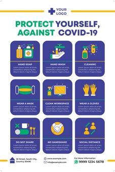 Contre l'affiche de covid19 dans un style design plat