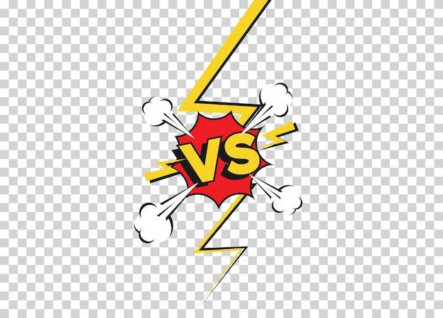 Contre des arrière-plans de combat dans un style plat de bande dessinée. défi de bataille vs isolé sur fond transparent. fond de bande dessinée de dessin animé de vecteur. duel de combat comique avec bordure de rayon de foudre.