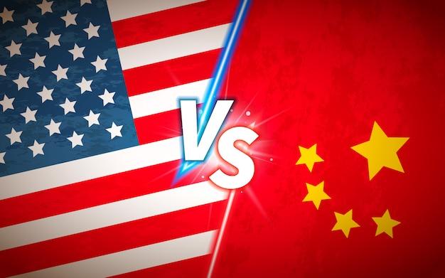 Contre le concept de bataille avec les drapeaux des usa et de la chine
