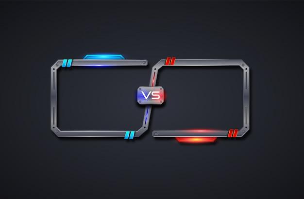Contre le modèle de cadre de conception d'écran, bataille, sport, jeu, combat. illusutration futuriste.