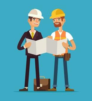 Contremaître et ouvrier, illustration plate
