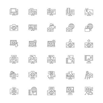 Contributeur courant tendance jeu d'icônes de secteur d'activité