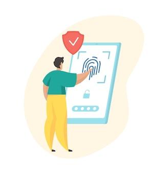 Contrôle d'accès biométrique. numérisation d'empreintes digitales. personnage de dessin animé masculin essayant d'accéder à un smartphone à l'aide d'un scanner d'empreintes digitales
