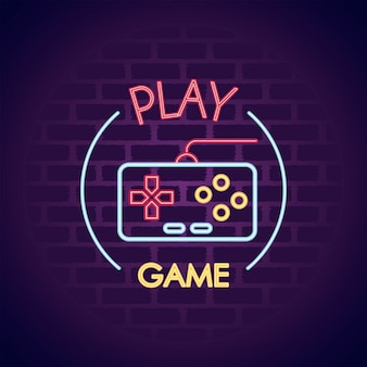 Contrôle du jeu vidéo dans l'illustration d'icône de style néon mural