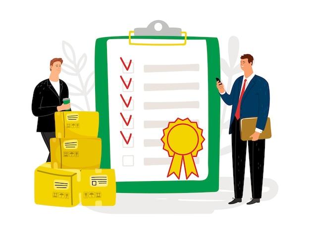 Contrôle de qualité. document de certification international