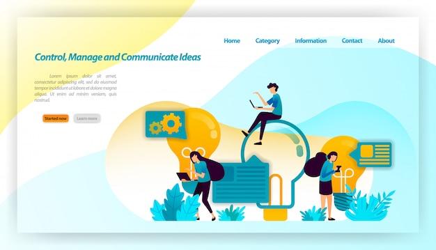 Contrôler, gérer et communiquer des idées. les gens réfléchissent pour trouver des idées avec votre ampoule et vos commentaires. modèle web de page de destination