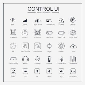 Contrôler l'interface utilisateur (iu) ensemble de collection d'icônes.