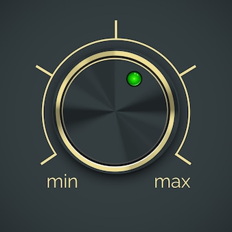 Contrôleur métallique circulaire de vecteur avec bouton vert isolé sur fond noir.