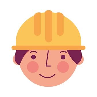 Contruction de travailleur dans le caractère de visage hardhat