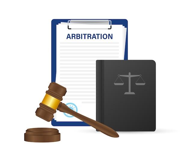 Convention d'arbitrage. conflit de résolution juridique. illustration vectorielle