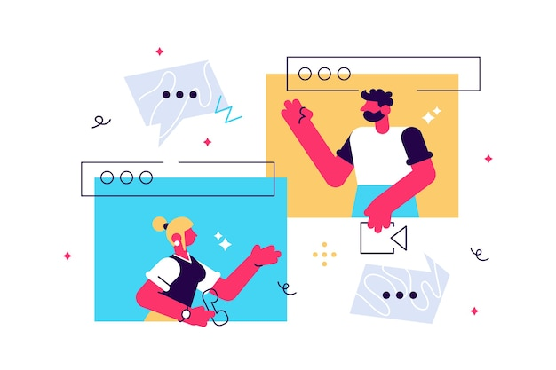 Conversation d'appel vidéo à l'aide du concept de personnes minuscules ordinateur webcam en ligne.