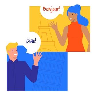 Conversation dans différentes langues