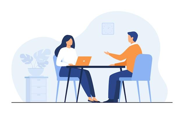 Conversation d'entretien d'embauche