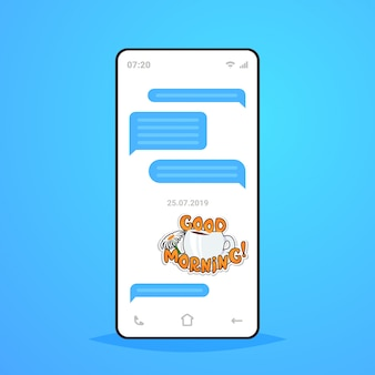 Conversation en ligne application de chat mobile envoi de réception de messages avec bonjour autocollant application de messagerie communication concept de médias sociaux écran de smartphone