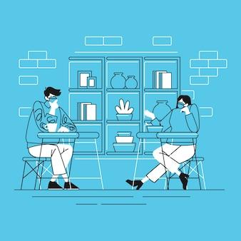 Conversation de personnes dans une nouvelle activité normale à distance sociale au restaurant avec style de ligne