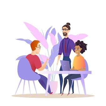 Conversation de remue-méninges avec le groupe de gens d'affaires