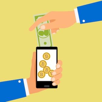 Conversion dollars en bitcoins