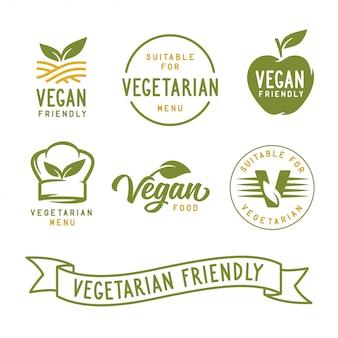 Convient aux végétariens. ensemble d'étiquettes liées aux végétaliens