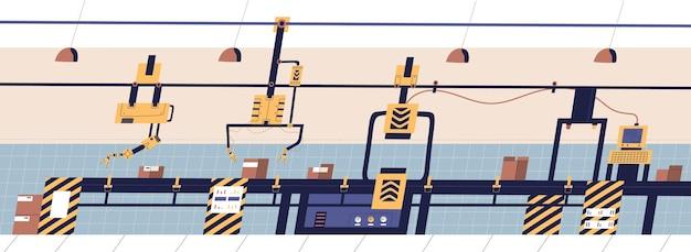 Convoyeur à bande équipé de manipulateurs hydrauliques robotisés transportant des caisses