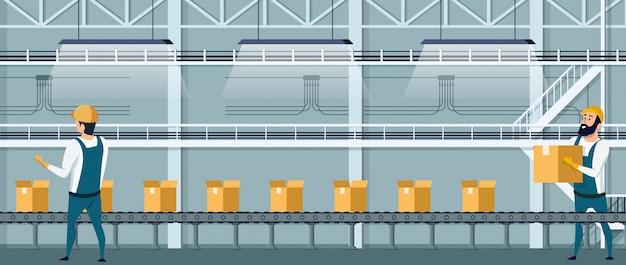 Convoyeur d'emballage en entrepôt utilisant les ressources humaines