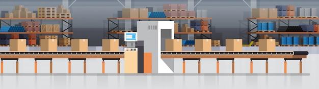 Convoyeur d'entrepôt de fabrication, chaîne de production moderne d'assemblée production industrielle de convoyeur