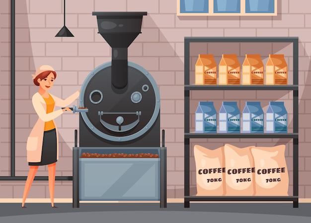 Convoyeur de production de café avec illustration de dessin animé de symboles d'emballage et de traitement,